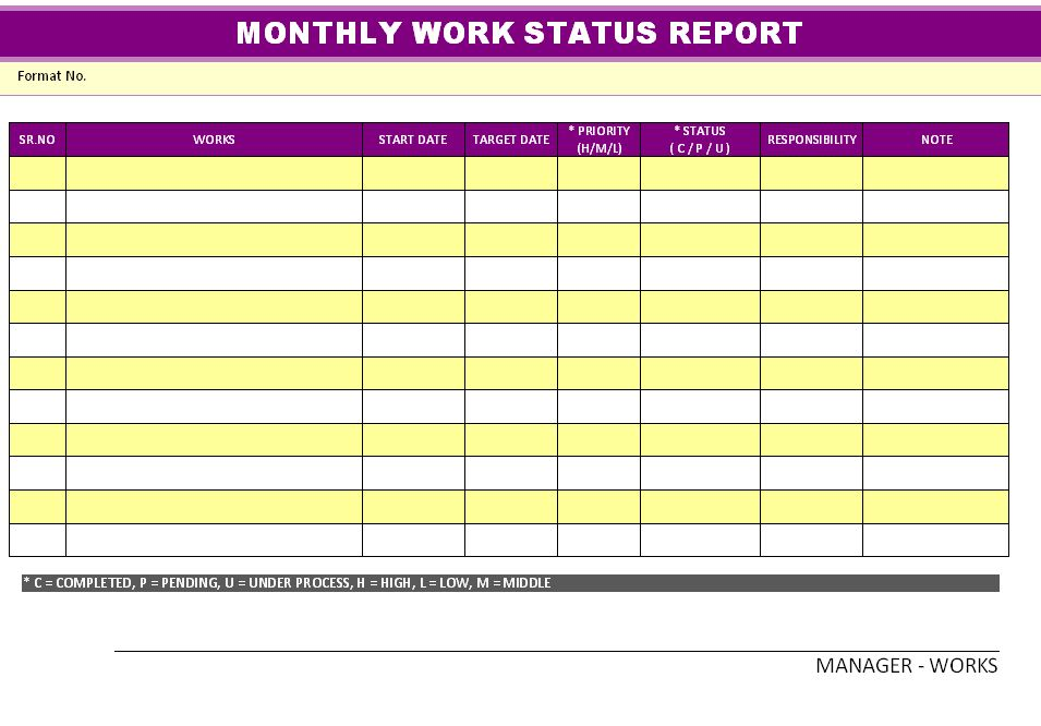 Business Monthly Status Report Template Example : Helloalive