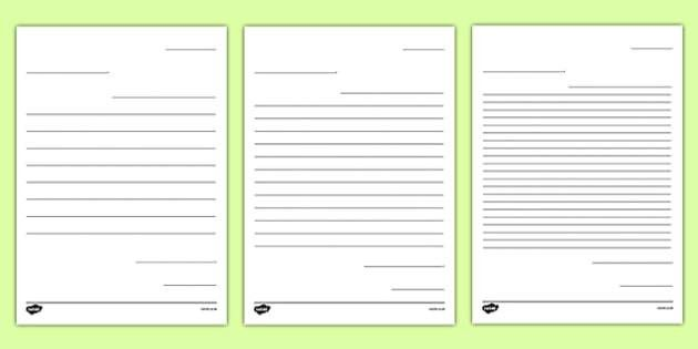 Friendly Letter Writing Paper - Letter to Future Teacher Writing