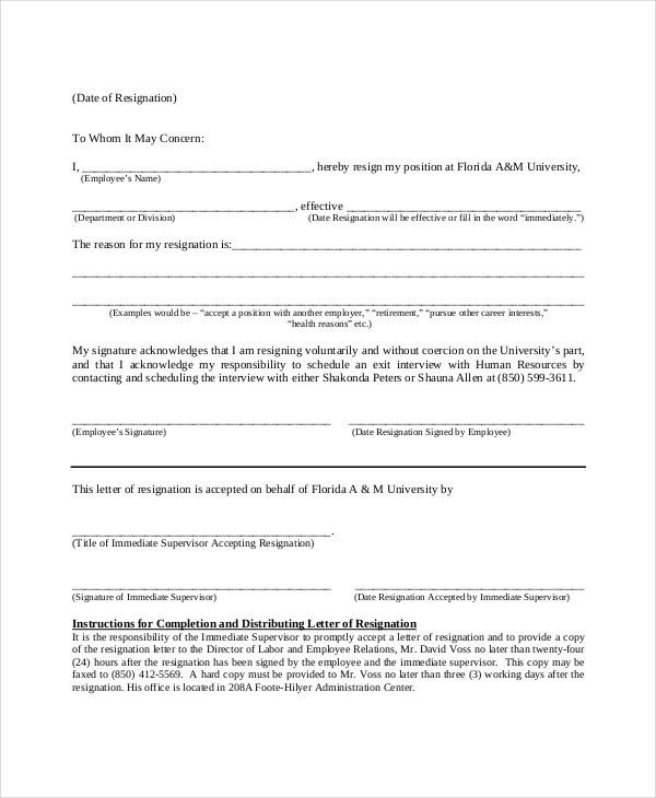 Letter of Resignation Template - 16+ Free Word, PDF Document ...