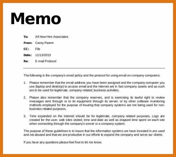memo format example | letter format business