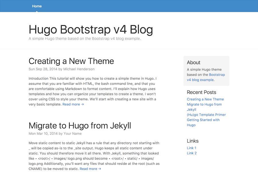 Hugo Themes   Hugo Theme Bootstrap4 Blog