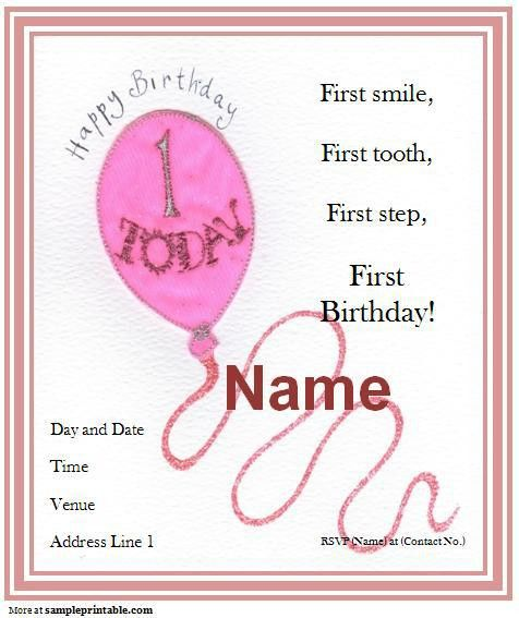 40th Birthday Ideas: Free 1st Birthday Invitation Templates Printable