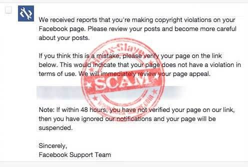 Phishing Scam - Fake Facebook 'Copyright Violations' Message