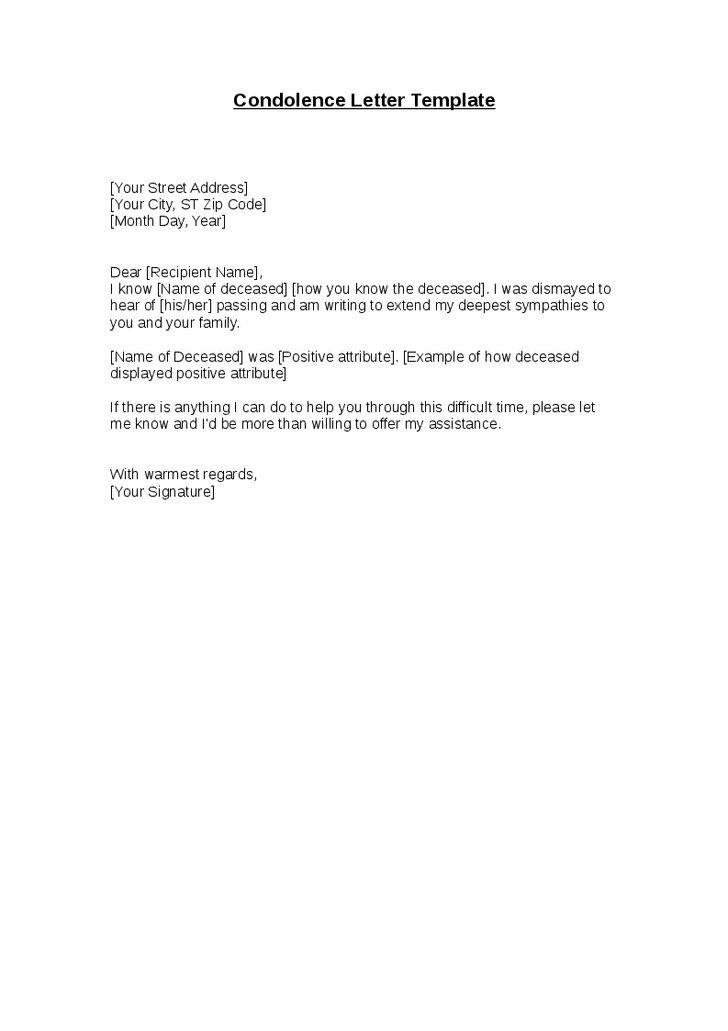 How To Write Condolence Letter Sample - Cover Letter Templates