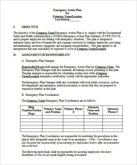 Emergency Action Plan Template | onlinecashsource