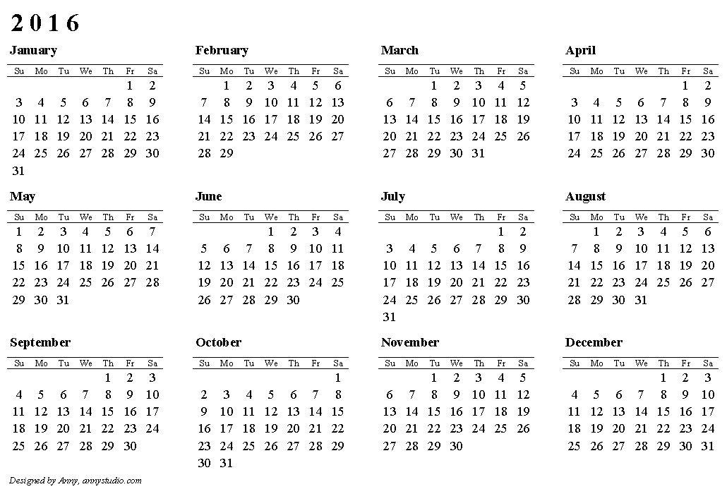 2016 Calendar Template Pdf