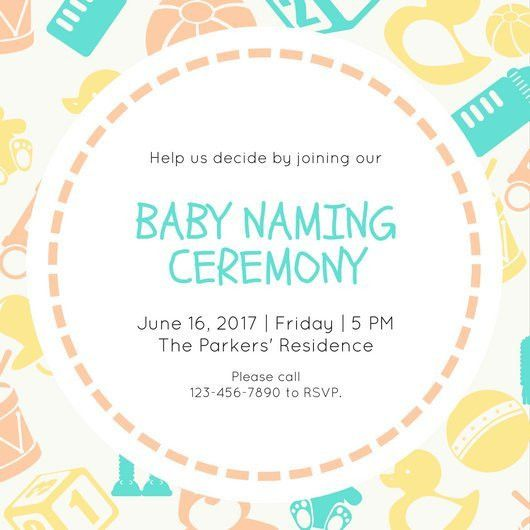 Green Yellow Orange Baby Naming Ceremony Invitation - Templates by ...