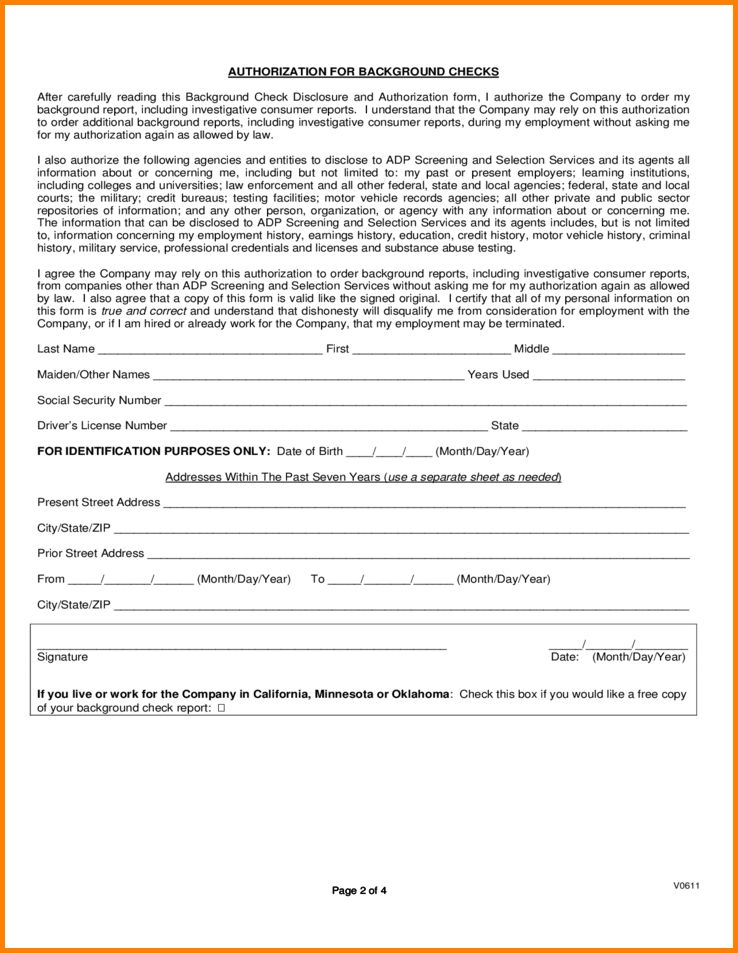 13+ background check authorization form | Letter Template Word