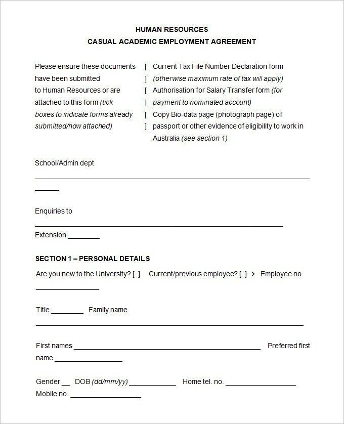 15+ Sample HR Agreement Templates   Free & Premium Templates