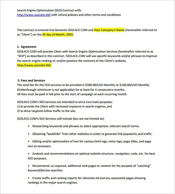 5+ SEO Contract Templates – Free Word, PDF Format Download! | Free ...