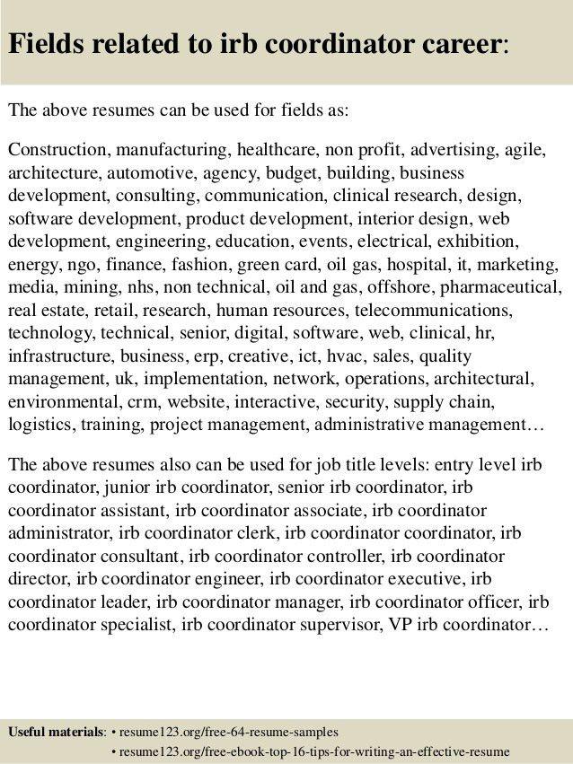 Top 8 irb coordinator resume samples