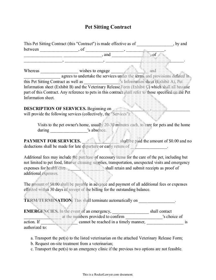 nice Pet Sitting Contract Template - Service Agreement Form for ...