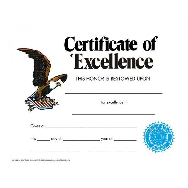 Certificate of Excellence, VA221CL | Hayes School Publishing ...