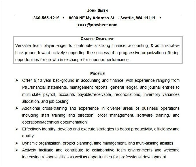 Strikingly Design Accounting Resume Objective 14 Career Objective ...