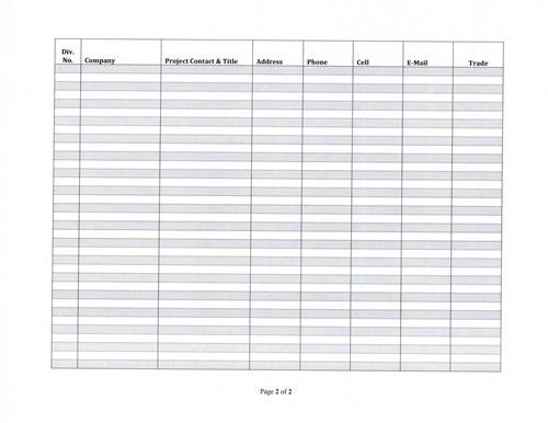 Project Contact List Template | Free Business Template