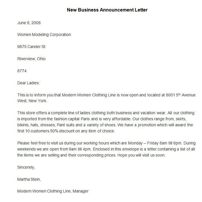 10 Best Images of New Business Announcement Letter Sample ...