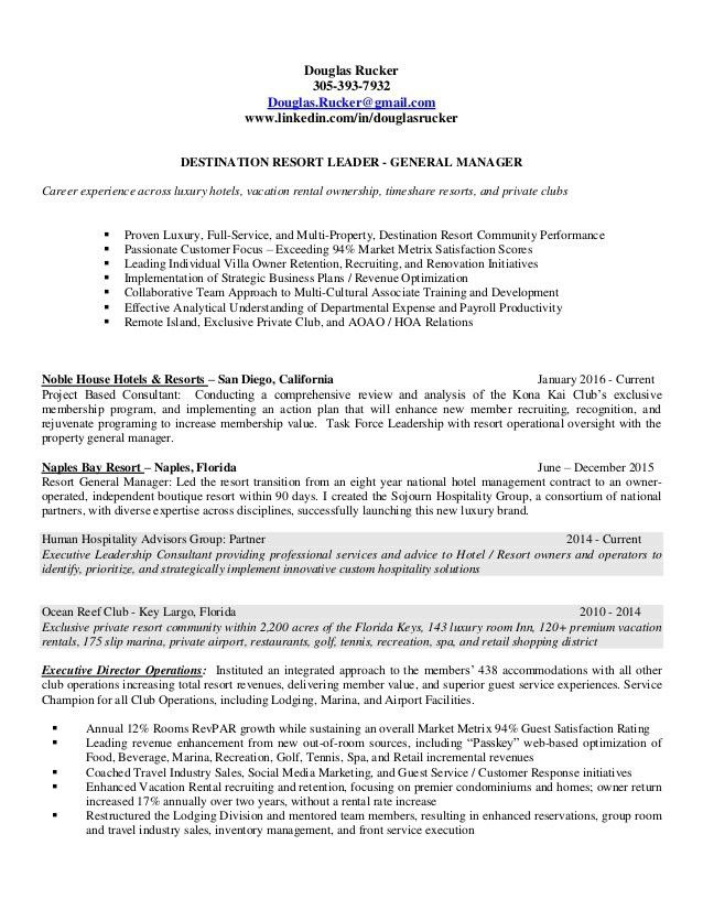 Douglas Rucker - 2016 General Manager Resume
