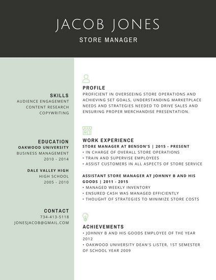 Professional Resume Templates 13 Professional Store Manager Resume ...