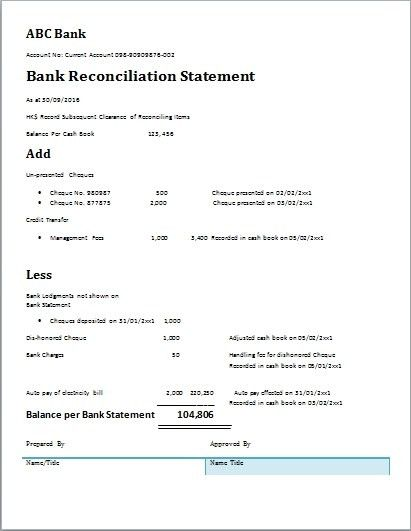 Bank Reconciliation Template – bikeboulevardstucson.com