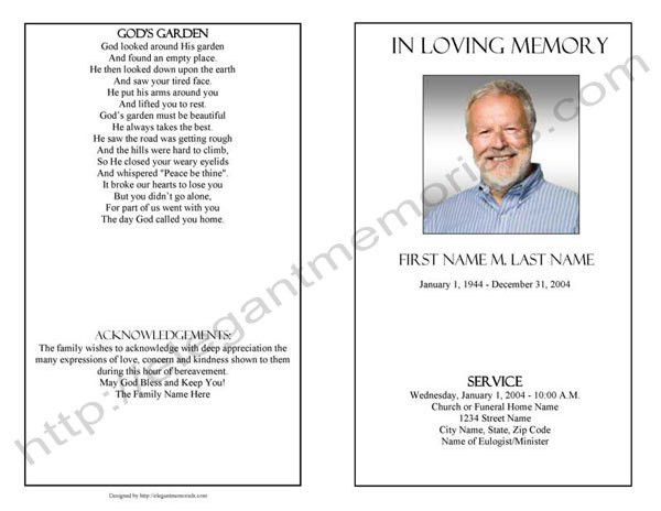Funeral Program Template Sample | Simple Funeral Program