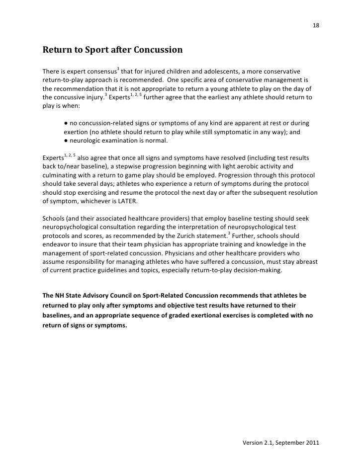 NH Sport Concussion Advisory Council Consensus statement version 2.1