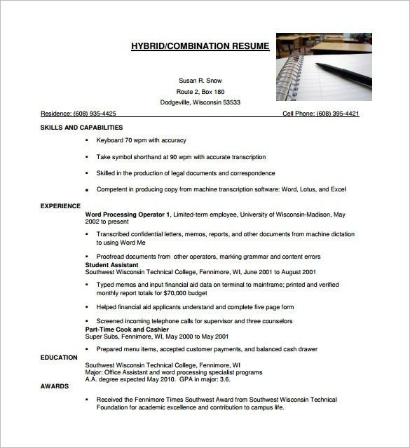 Hybrid Resume Template | health-symptoms-and-cure.com