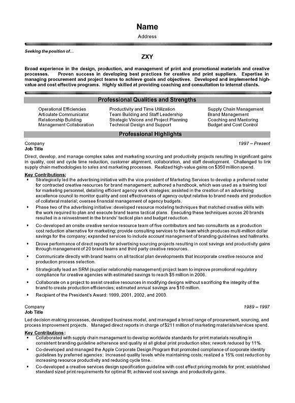 Management Executive Resume Example