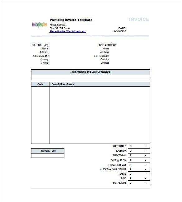 Occupyhistoryus Sweet Plumbing Invoice Template Free Word Excel ...