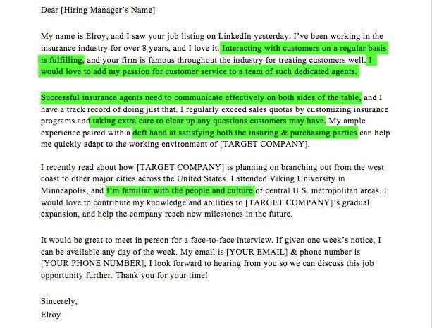 Insurance Agent Cover Letter Sample | Resume Companion