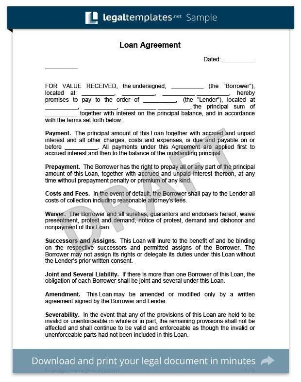 Legal Contract Template. Download A Free Loan Agreement Template ...