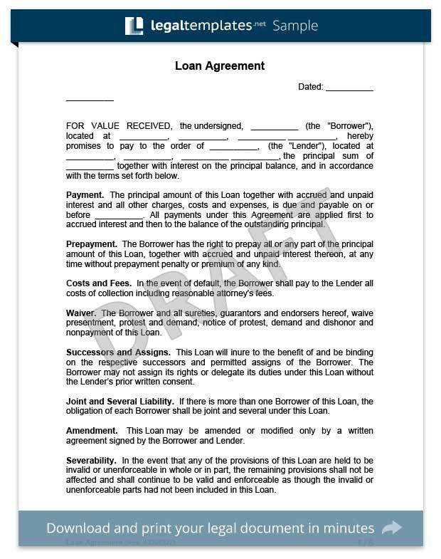 Create a Loan Agreement | Legal Templates