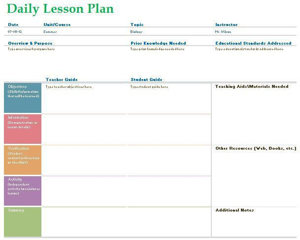 Teacher Daily Lesson Planner Template Formal Word Templates : Selimtd