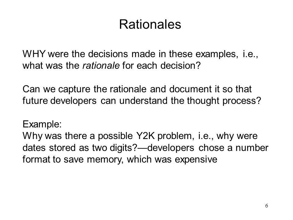 1 Design Analysis with UML; Rationales: What were we thinking ...
