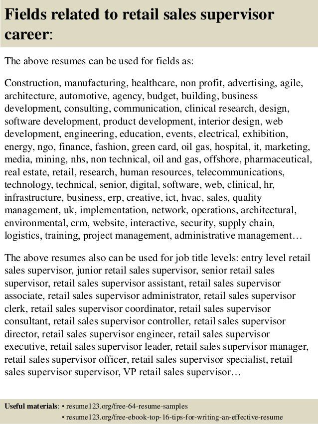 top 8 retail sales supervisor resume samples in this file you can ...