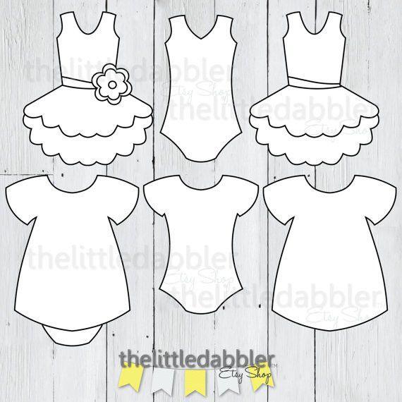 Dress and Tutu Templates Baby Shower Girl Onesie Baby Dress