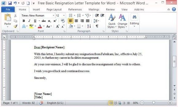 Free Basic Resignation Letter Template For Word