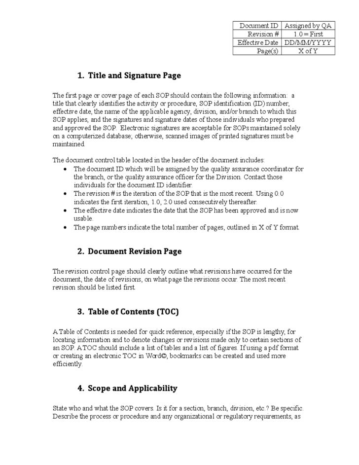 Administrative SOP Template - Kentucky Free Download