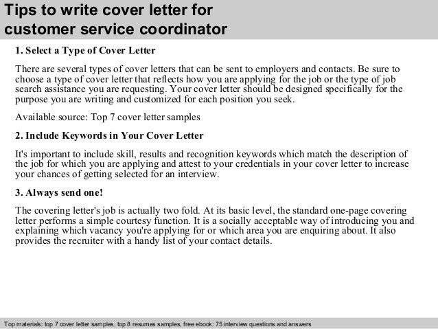 Customer service coordinator cover letter