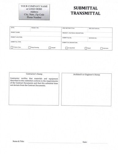 Submittal Transmittal Form - $5.99 DOWNLOAD NOW!