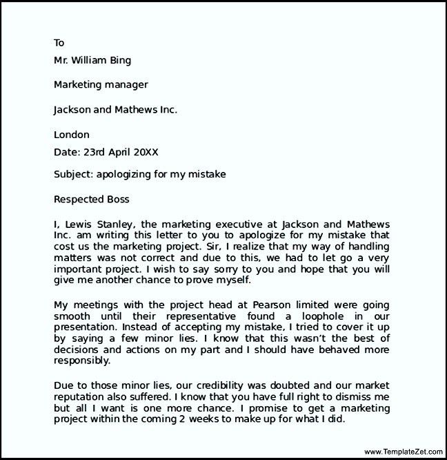 Sample Of Apology Letter To Boss Apology Letter To Boss For Poor