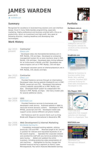 Contractor Resume samples - VisualCV resume samples database