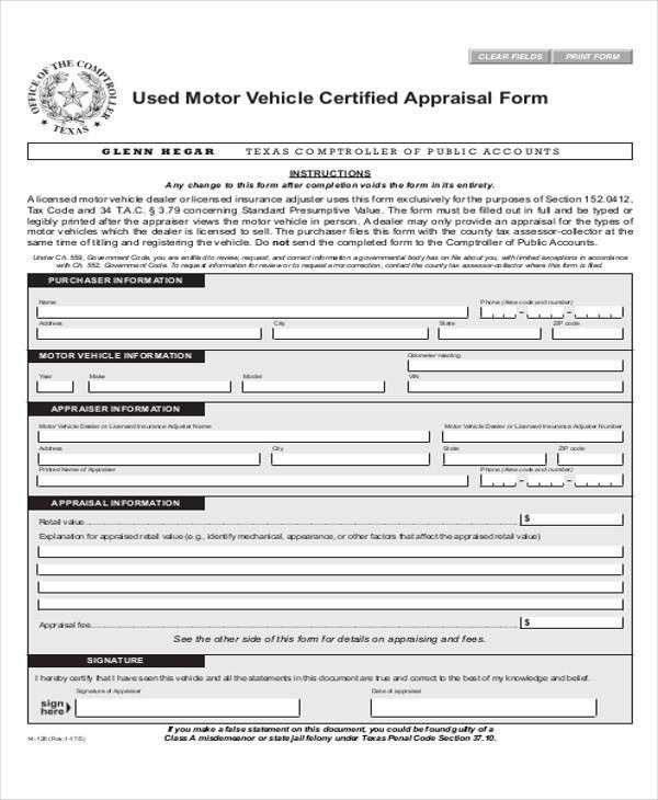 Vehicle Appraisal Form. Employee Performance Evaluation Form ...