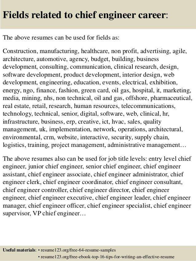 chief designer resume chief engineer resume samples visualcv
