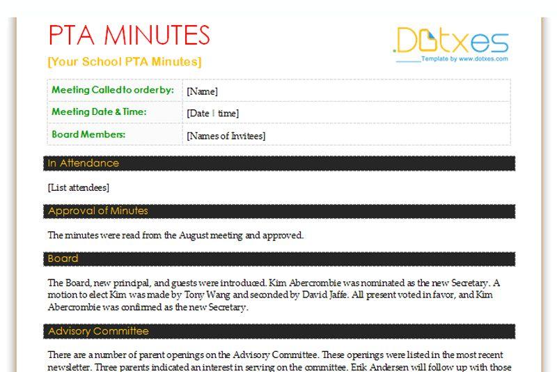 pta meeting agenda template