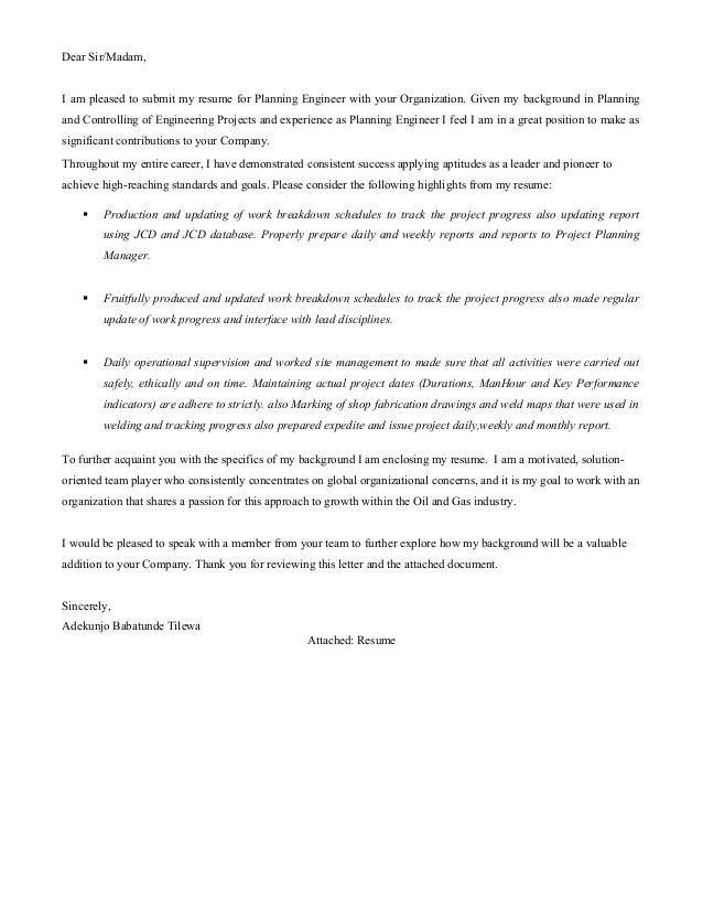 Tunde Adekunjo Cover Letter - Planning Engineer