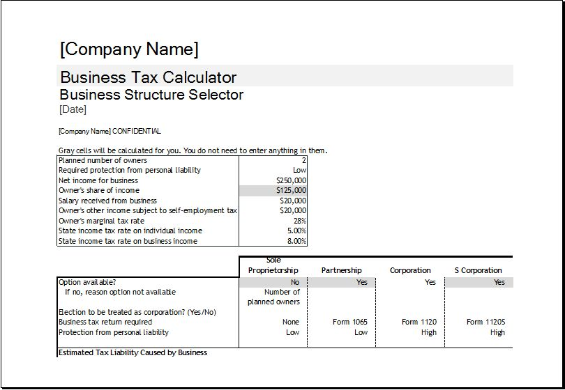Corporate Tax Calculator Template | Excel Templates