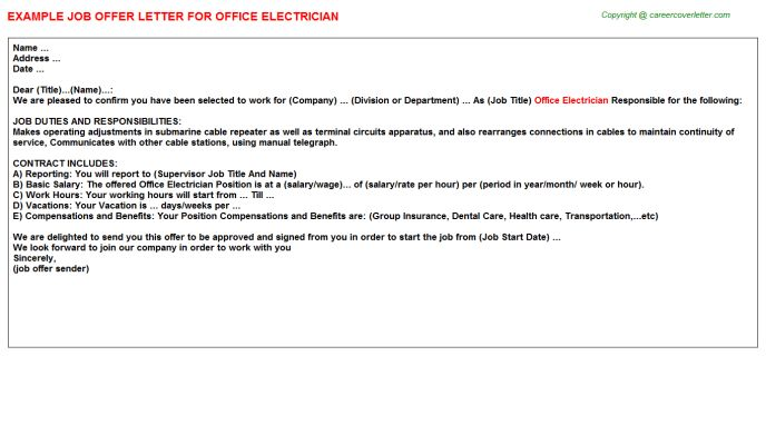 Office Electrician Offer Letter