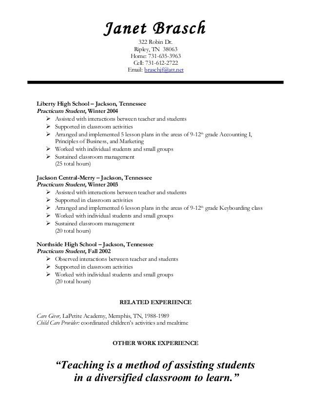 Teaching Resume  Student Teacher Resume