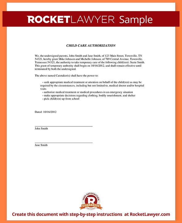 5+ child care authorization form   Invoice Example 2017