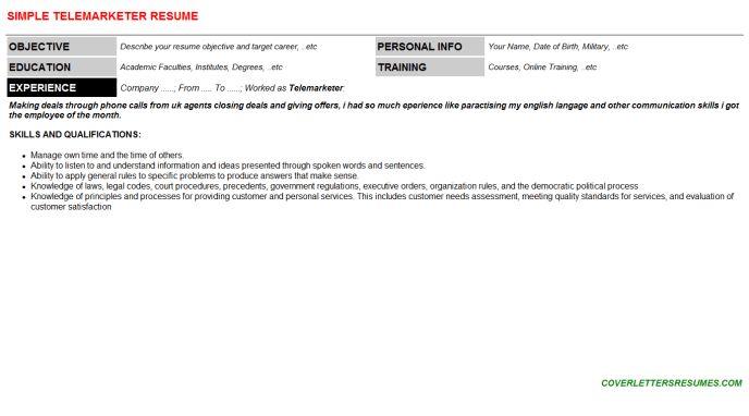Telemarketer Cover Letter & Resume